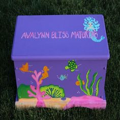 Ocean Fish Mermaid Theme Toy Bench, Toy Box, Treasure Chest perfect for storage, organization, dress up clothes, cars, figurines, balls