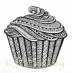Cool idea to do a zentangle cupcake drawing! Doodles Zentangles, Tangle Doodle, Zentangle Drawings, Zen Doodle, Zentangle Patterns, Doodle Drawings, Doodle Art, Doodle Patterns, Doodle Borders