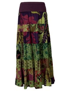 Gypsy Clothing | Nomads Fair Trade patchwork hippy gypsy style long maxi skirt in green