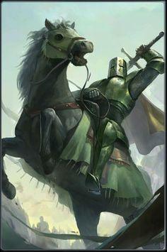 m Paladin Plate Armor Helm Cloak Greatsword Horseback battle eastern border lg Medieval Knight, Medieval Fantasy, Dark Fantasy, Knight On Horse, Knight Art, Fantasy Warrior, Fantasy Character Design, Character Art, Knight Drawing