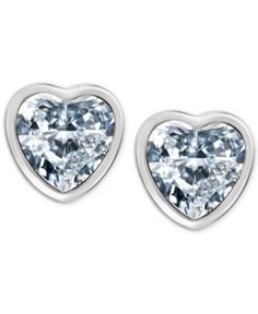 T Tahari Silver-Tone Crystal Heart Stud Earrings - Silver