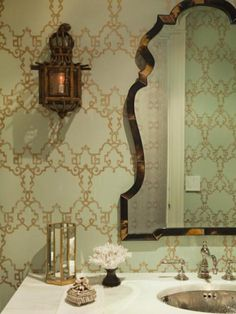 tortoise shell mirror and wallpaper
