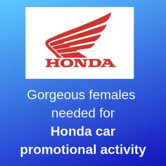 Gorgeous females needed for Honda car promotional activity Mangalore, Part Time Jobs, Honda, Promotion, Activities, Female, Car, Automobile, Autos