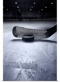Poster Print Wall Art Print entitled Hockey Stick and Puck, None