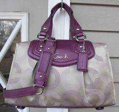NEW AUTH Coach Ashley Berry Purple Khaki Dotted OP ART Satchel/Handbag 20027
