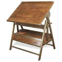 Draftsman's Industrial Loft Wood Iron Desk / Table $1527