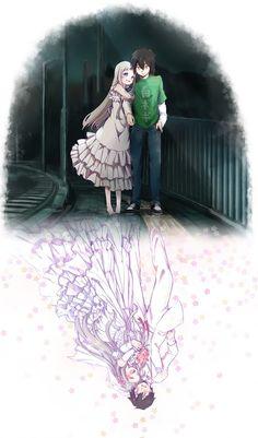 Menma and Jintan, from Ano Hi Mita Hana no Namae o Bokutachi wa Mada Shiranai (AnoHana). The scene that the image represents is one of the most beautiful of AnoHana anime. So, this image make me cry T-T So kawaii *-* Anime Love, Sad Anime, Awesome Anime, Otaku Anime, Manga Anime, Anohana Anime, Anime Girl And Boy, Anime Triste, Tamako Love Story