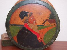 Antique Russian carved painted wooden folk art box Old peasant man