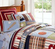 Trent's Bedding --> Junior Varsity Quilted Bedding | Pottery Barn Kids
