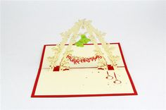 Christamas Card 3D Popup Card Blue Holiday Greeting by CardsBless