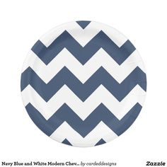 Navy Blue and White Modern Chevron 7 Inch Paper Plate