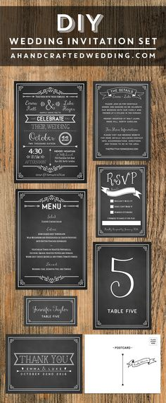 Chalkboard DIY Wedding Invitation Set | ahandcraftedwedding.com #printable #invitations