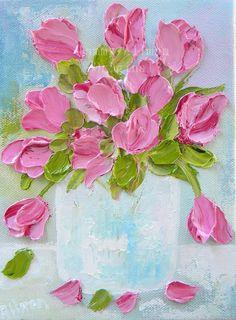Tulip Oil Painting Tulip Impasto Oil Painting por KenziesCottage