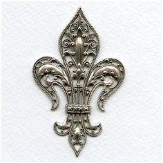 Exquisite Fleur-de-lys Stamping Oxidized Silver Rare Vintage (1)