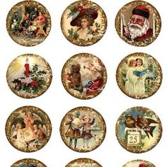 Classic vintage Christmas cupcake toppers. Look great on the perfectly set dessert table.