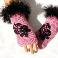 Hand Knit Pink Gloves Half Finger Mitten Ornamented With by Pasin, $36.00