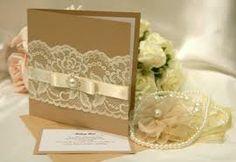 brown lace satin pearl invite