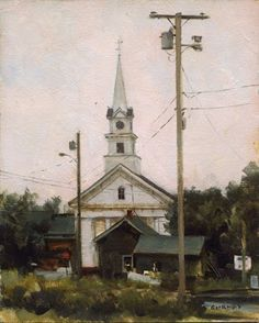 The view looked across to the Congregational church beyond some utility poles and outbuildings. I liked the way the church was white against the white of the sky, with a few birds perched up high on the steeple.