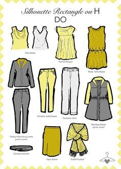 Ma personal Wardrobe : Zoom sur la silhouette rectangle ou H Dressing Your Body Type, Silhouette Mode, Fashion Infographic, Fashion Models, Fashion Outfits, Woman Outfits, Style Fashion, Magazine Mode, Model Body