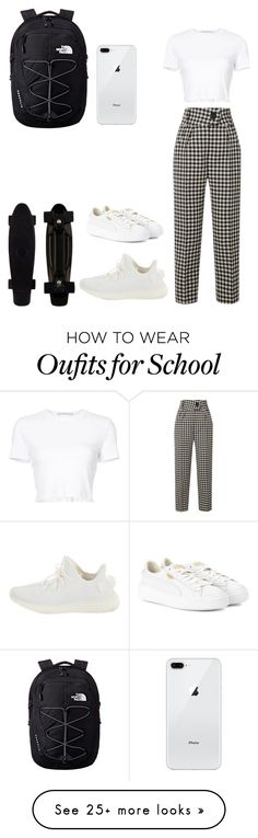 """School"" by liwtfy-1 on Polyvore featuring The North Face, Petar Petrov, Rosetta Getty, Yeezy by Kanye West and Puma"