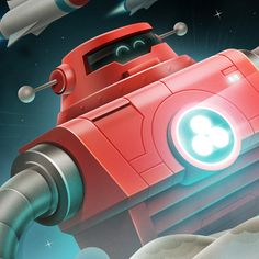 Red Robot Character Illustration