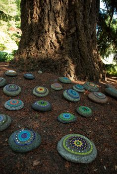 Dunn Gardens -Painted rock garden... Cool way to pick up an area where nothing can grow but you want to add a little fun whimsical look to the area...