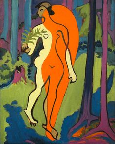 Ernst Ludwig Kirchner, Nude in Orange and Yellow, 1929-1930