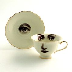 Fornasetti Style Vintage Coffee Tea Cup with Saucer             ...
