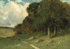 Untitled (man on path with trees in background), Edward Mitchell Bannister, 1882, oil on canvas, Smithsonian American Art Museum.