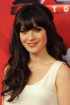 Zooey Deschanel Long Hairstyle : Parted Curls