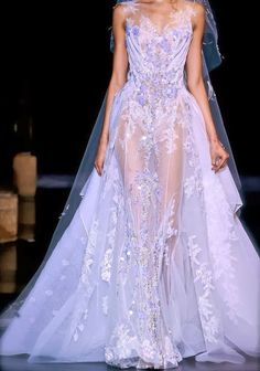 Zuhair Murad Sheer Lavender Wedding Gown ~ Gorgeous! ᘡղbᘠ