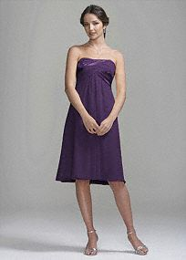 David's Bridal -Crinkle Chiffon Short Dress with Back Cascade Detail - they have it in navy