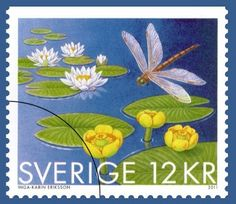 Swedish Stamp  Water Lilies