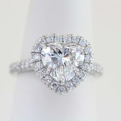 Heart shape Diamond Halo Engagemet Ring Price $2,682.00