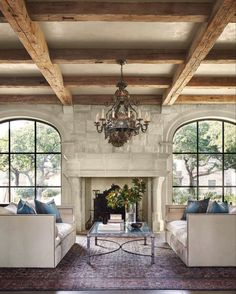English Cottage Style, French Country, Wine Country, Country Style, Mediterranean Architecture, Mediterranean Style Decor, Atlanta Homes, Ceiling Beams, Beamed Ceilings