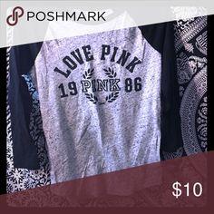 Victoria's Secret pink baseball t shirt Grey and black Victoria's Secret pink t shirt. Worn once PINK Victoria's Secret Tops Tees - Short Sleeve