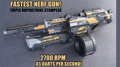 This is the fastest shooting nerf gun. I replaced all of pusher motors with make test battle honey badgers to achieve a maximum rate of fire. Nerf Elite Guns, Nerf Stampede, Mario Brothers Games, Modified Nerf Guns, Nerf Storage, Cool Nerf Guns, Nerf Mod, Nerf Party, Lego Design