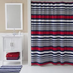 black and red shower curtain set. The Varsity shower curtain is constructed of a cotton blend and features  navy red Black White Red Shower Curtain Pinterest