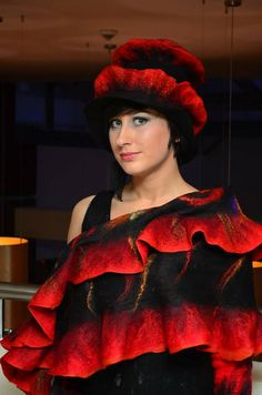 Nuno Felted scarf   ruffle collar stole Red and Black by galafilc, $114.00