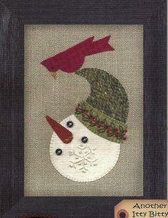 wool applique | Primitive Folk Art Wool Applique Pattern: FROSTY FRIENDS
