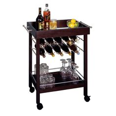 Winsome Wood Rolling Mirror-Top Bar Cart with 10-Bottle Wine Rack