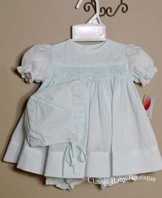 NWT Petit Ami White Smocked Lace 3PC Dress Newborn Reborn Baby Girls Bonnet NB