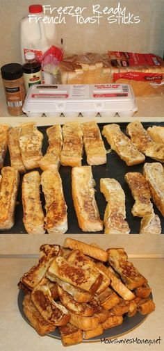 French Toast Sticks Freezer ready french toast sticks with six ingredients. Whip up a huge batch and freeze extras for a quick breakfast!Freezer ready french toast sticks with six ingredients. Whip up a huge batch and freeze extras for a quick breakfast! Breakfast And Brunch, Easy Healthy Breakfast, Breakfast Recipes, Breakfast Casserole, Frozen Breakfast, School Breakfast, Quick Breakfast Ideas, Breakfast Ideas For Toddlers, Breakfast For Camping