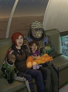Shakarian and Family ... If u look closely u can tell the home is the one u can win from Admiral Ahern in the Pinnacle Station DLC from Mass Effect 1 ... Since I found this pic I ALWAYS make sure to win this every Playthrough with my femsheps ;-) !!!