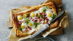 Ingredients and step-by-step recipe for Bacon and Egg Puff Pastry Tart. Find more gourmet recipes and meal ideas at The Fresh Market today! Puff Pastry Recipes, Tart Recipes, Egg Recipes, Brunch Recipes, Gourmet Recipes, Cooking Recipes, Recipies, Pizza Recipes, Delicious Recipes