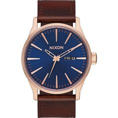 Nixon The Sentry Leather Watch (12,220 INR) ❤ liked on Polyvore featuring men's fashion, men's jewelry, men's watches, accessories, men, watches, mens watches jewelry, mens analog watches, mens water resistant watches and mens leather watches #menswatchesnixon