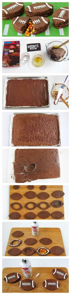 Three layers of football-shaped brownies stacked together that, when broken open, reveal candy hiding inside.