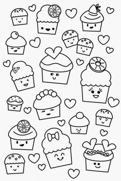Poofy Cheeks Printable Kawaii Valentine Cupcake Coloring Page Pages Cartoon