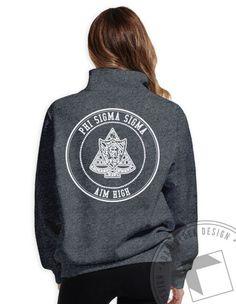 Phi Sigma Sigma - Aim High Crest Half Zip (Graphite Heather) by ABD BlockBuy! Available until 10/29, $29-$33 Adam Block Design | Custom Greek Apparel & Sorority Clothes |www.adamblockdesign.com