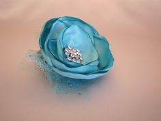 Aqua Wrist Corsage, Turquoise Robin's Egg Blue Fabric Flower Corsage, Prom Spa Pool Mint Mother of the Bride Rhinestone Bracelet by BellaRoseBouquets on Etsy